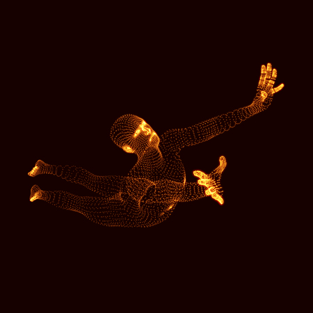 3d model: Jumping Man. Vector Graphics Composed of Particles. 3D Model of Man. Human Body Model. Body Scanning. View of Human Body.