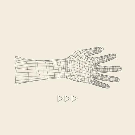 piel humana: Brazo humano. Modelo de la mano humana. Exploración de la mano. Vista de la mano humana. Diseño geométrico 3D. 3d Cubrir la piel. Diseño poligonal. Puede ser utilizado para la ciencia, la tecnología, la medicina, de alta tecnología, de la ciencia ficción.