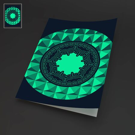 notebook cover: Notebook Cover Template. Oriental Traditional Design. Vector Illustration.