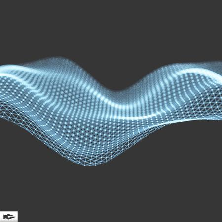 Olas con las líneas conectadas y puntos. Cuadrícula brillante. Estructura de conexión. Ilustración vectorial de carcasa.