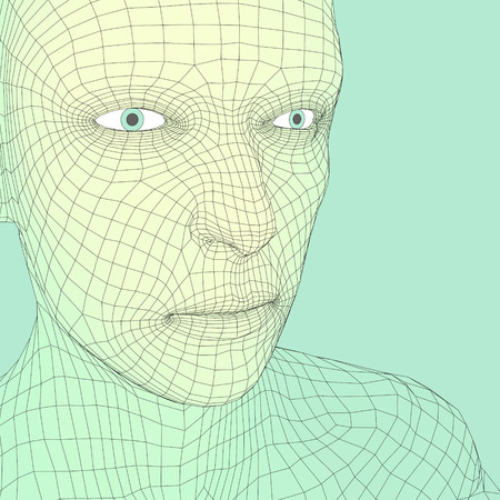 forms: Head of the Person from a 3d Grid. Human Head Wire Model. Human Polygon Head. Face Scanning. View of Human Head. 3D Geometric Face Design. 3d Polygonal Covering Skin. Geometry Polygon Man Portrait.