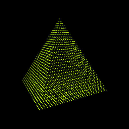 the polyhedron: Pyramid. Regular Tetrahedron. Platonic Solid. Regular, Convex Polyhedron. Geometric Element for Design. Molecular Grid. 3D Grid Design. 3D Technology Style.