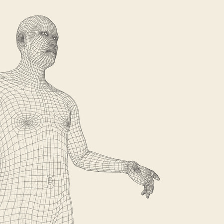 pointing hand: Man Pointing his Finger. 3D Model of Man. Geometric Design. Vector Illustration. 3d Polygonal Covering Skin. Human Polygon Body. Human Body Wire Model.