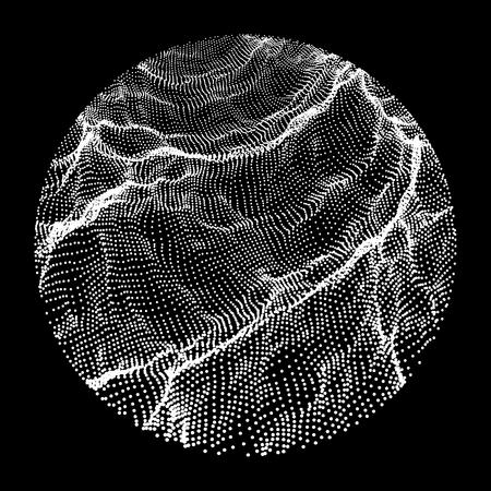 black art: Wave Grid Background. 3d Abstract Vector Illustration. Illustration