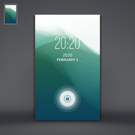 aqueous: Modern Lock Screen for Mobile Apps. Water Wave. Vector Illustration.