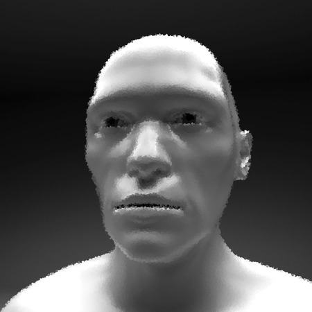 physiognomy: Realistic Vector Humanoid Robot. View of Human Head. Stipple Effect.