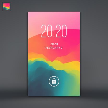mobile apps: Modern Lock Screen for Mobile Apps. Mobile Wallpaper. Vector Illustration. Illustration