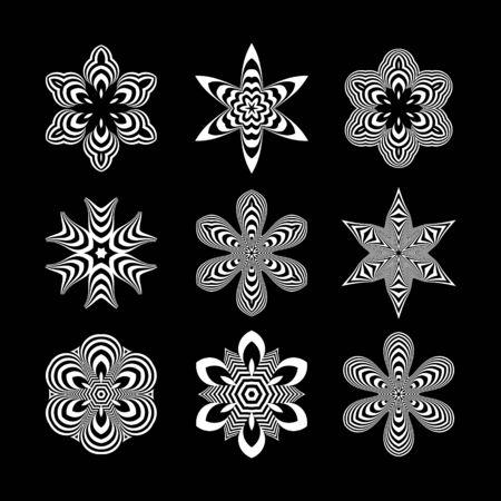 arte optico: Blanco y Negro elementos de dise�o abstracto. Arte �ptico. Ilustraci�n del vector. Vectores
