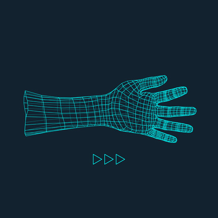 virtual sculpture: Human Arm. Human Hand Model. Hand Scanning. View of Human Hand. 3D Geometric Design. 3d Covering Skin. Polygonal Design. Can be used for science, technology, medicine, hi-tech, sci-fi.