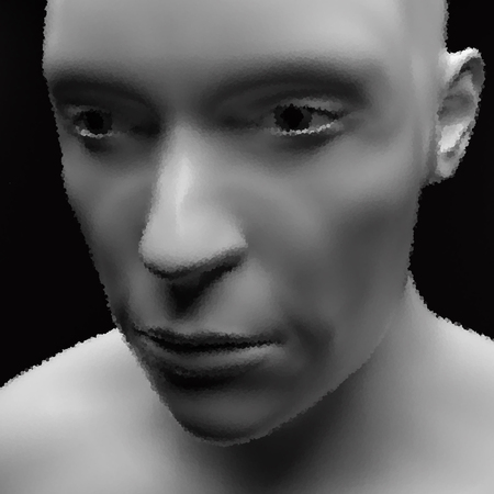 Realistic Vector Humanoid Robot. View of Human Head. Stipple Effect.