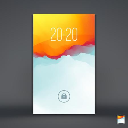 on the handphone: Modern Lock Screen for Mobile Apps. Mobile Wallpaper. Vector Illustration. Illustration