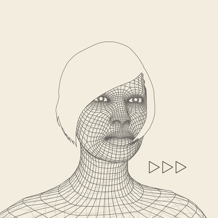 mesh: Woman. Head of the Person from a 3d Grid. Geometric Face Design. Polygonal Covering Skin. Vector Illustration.