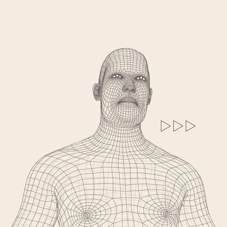 countenance: Head of the Person from a 3d Grid. Human Head Wire Model. Human Polygon Head. Face Scanning. View of Human Head. 3D Geometric Face Design. 3d Polygonal Covering Skin. Geometry Polygon Man Portrait.