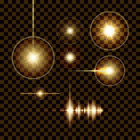 Effetti di luce di Flash. Bagliore bianco Elementi. Illustrazione vettoriale.