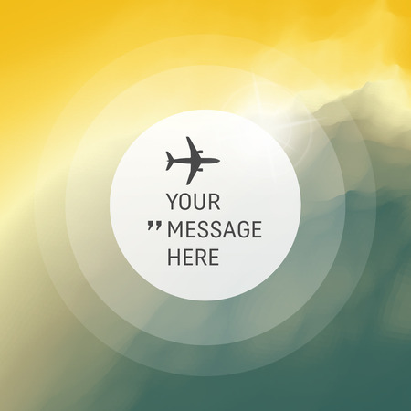 place for text: Background with Place for Text. Abstract Background. Vector Illustration with Airplane. Circle with Place for Text.