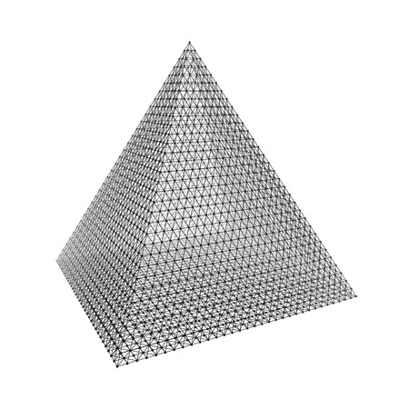 convex: Pyramid. Regular Tetrahedron. Platonic Solid. Regular, Convex Polyhedron. 3D Connection Structure. Lattice Geometric Element for Design. Molecular Grid. Wireframe Mesh Polygonal Element. Illustration