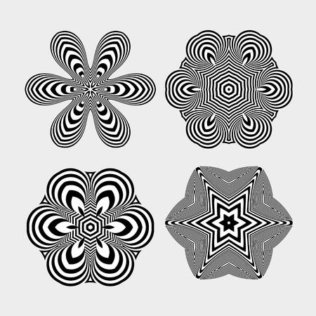 arte optico: Copos de nieve. Elementos abstractos del diseño. Arte óptico. Ilustración del vector.
