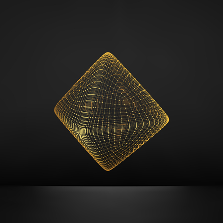 octahedron: Vector Transparent Octahedron. Wireframe Object with Dots. Abstract 3D Connection Structure. Geometric Shape for Design. Lattice Geometric Element. Molecular grid. 3D Technology Style with Particle