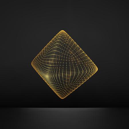 forme geometrique: Vector Transparent Octahedron. Wireframe objet avec des points. Résumé Structure de connexion 3D. Forme géométrique pour la conception. Lattice géométrique Element. Grille moléculaire. Style de la technologie 3D avec des particules