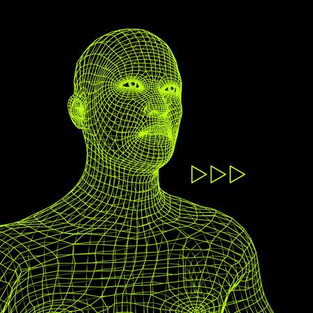 Cabeza de la persona de una rejilla 3d. Modelo de cable de cabeza humana. Cabeza humana del polígono. Exploración de rostro. Vista de la cabeza humana. Diseño de cara geométrica 3D. Piel que cubre poligonal 3D Geometry Polygon Man Portrait.