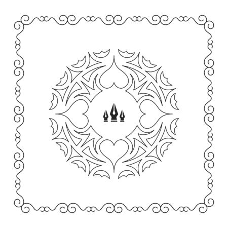 decoration style: Ornament Decoration. Ornate Frame. Elegant Element for Design, Place for Text. Retro Style for Invitations, Banners, Posters, Placards and Badges. Ethnic Circle Element. Vector Fashion Illustration.