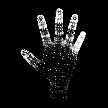 monochrome: Human Arm. Human Hand Model. Hand Scanning. 3d Covering Skin