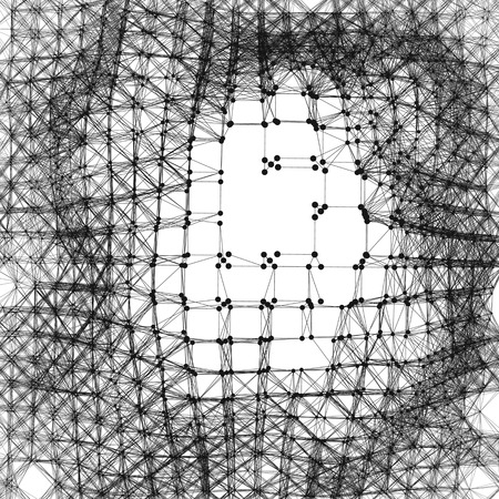 entanglement: Network Background. Connection Structure. Wireframe Polygonal Vector Illustration. 3D Technology Style. Cobweb Or Spider Web.