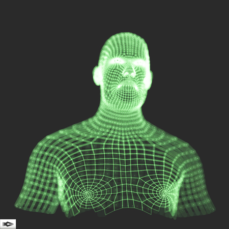 artificial model: Head of the Person from a 3d Grid. Human Head Wire Model. Human Polygon Head. Face Scanning. View of Human Head. 3D Geometric Face Design. 3d Polygonal Covering Skin. Geometry Polygon Man Portrait.