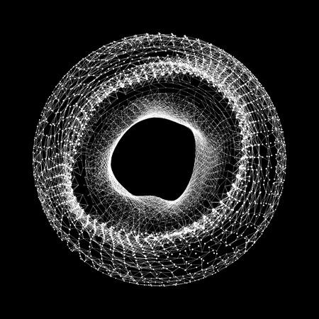 Sfera con linee collegate e punti. Connessioni Global Digital. Globo griglia. Wireframe sfera illustrazione. Abstract 3D griglia di progettazione. Stile tecnologia 3D. Reti.