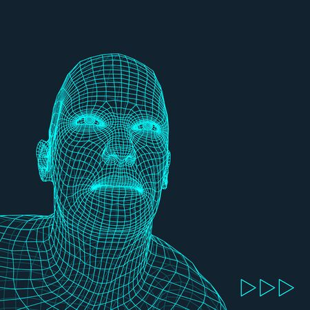 physiognomy: Head of the Person from a 3d Grid. Geometric Face Design. Polygonal Covering Skin. Vector Illustration.