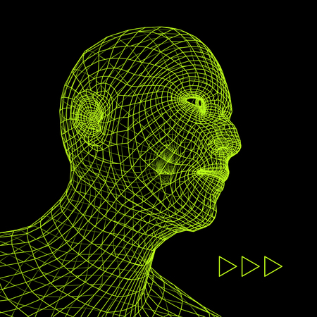 countenance: Head of the Person from a 3d Grid. Geometric Face Design. Polygonal Covering Skin. Vector Illustration.