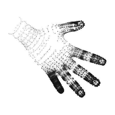 Brazo humano. Modelo de la mano humana. Exploración de la mano. Cubrir la piel 3d