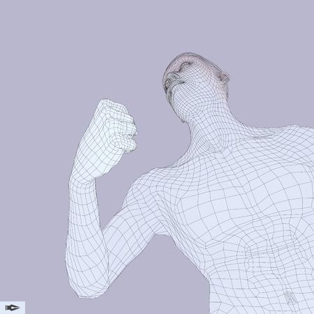 male athlete: 3D Model of Man. Polygonal Design. Geometric Design. Business, Science and Technology Vector Illustration. 3d Polygonal Covering Skin. Illustration