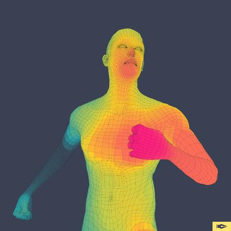 human figure: Hombre que corre. Diseño poligonal. Modelo 3D del Hombre. Diseño geométrico. Negocios, Ciencia y Tecnología de la ilustración del vector.
