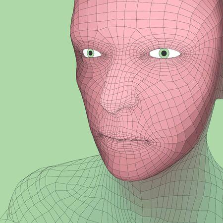 piel humana: Jefe de la persona de una rejilla 3d. Modelo de alambre cabeza humana. Cabeza humana polígono. Escaneo cara. Vista de la cabeza humana. Frente a diseño geométrico 3D. Piel 3D poligonal cubriendo. Retrato del hombre Polígono geometría.