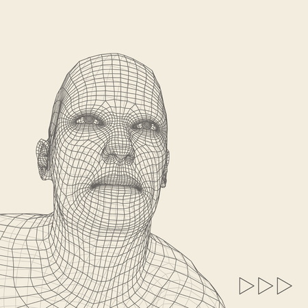 3d model: Head of the Person from a 3d Grid. Human Head Wire Model. Human Polygon Head. Face Scanning. View of Human Head. 3D Geometric Face Design. 3d Polygonal Covering Skin. Geometry Polygon Man Portrait.