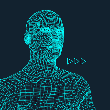 human head: Head of the Person from a 3d Grid. Human Head Wire Model. Human Polygon Head. Face Scanning. View of Human Head. 3D Geometric Face Design. 3d Polygonal Covering Skin. Geometry Polygon Man Portrait.