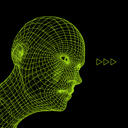 countenance: Head of the Person from a 3d Grid.