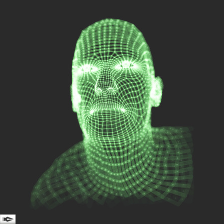 physiognomy: Head of the Person from a 3d Grid. 3D Geometric Face Design. Vector Illustration. Illustration