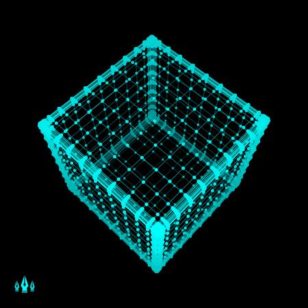 Cube. Platonic Solid. Lattice Geometric Element for Design. Wireframe Mesh Polygonal Element.