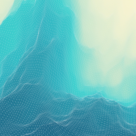 undulating: Water Surface. Wavy Grid Background. Mosaic. 3d Vector Illustration. Abstract Texture.