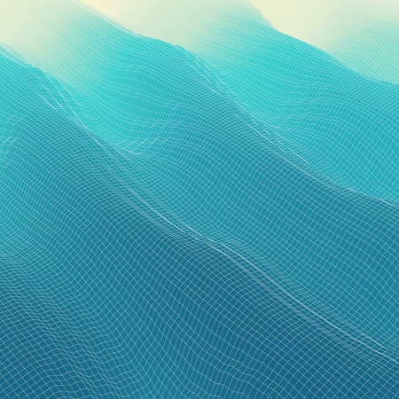 blue waves: Wavy Grid Background. Mosaic. 3d Abstract Vector Illustration.