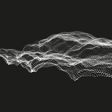 Array mit dynamischen Partikel. Abstract Vector Landschaft im Hintergrund. Futuristisches Design. 3D-Technologie Illustration.