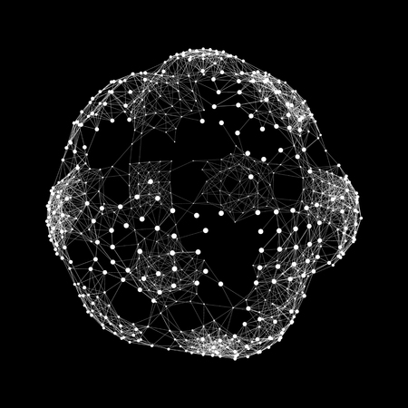 globe grid: Sphere with Connected Lines and Dots. Global Digital Connections. Globe Grid. Wireframe Sphere Illustration. Abstract 3D Grid Design. 3D Technology Style. Networks.