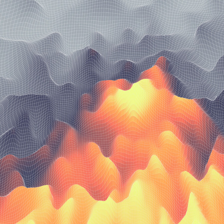 flamy: Fire Vector Background. Mosaic. Abstract Mesh Illustration. Design Template. Illustration