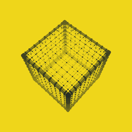cuboid: Cube. Platonic Solid. Lattice Geometric Element for Design. Wireframe Mesh Polygonal Element.