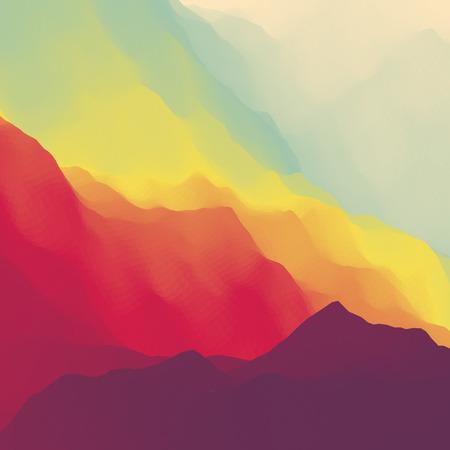 Sunset landscape vector: Núi Cảnh. Địa hình miền núi. Thiết kế Mountain. Vector bóng của núi Backgrounds. Hoàng hôn. Có thể được sử dụng cho Banner, Flyer, Book Cover, Poster, Web Banners.