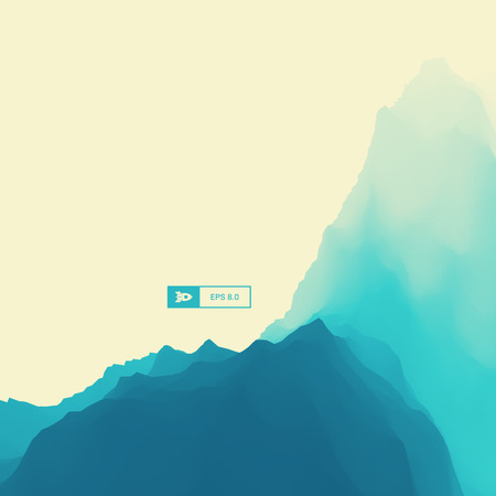 mountainous: Mountain Landscape. Mountainous Terrain. Vector Illustration For Banner, Flyer, Book Cover, Poster. Abstract Background.