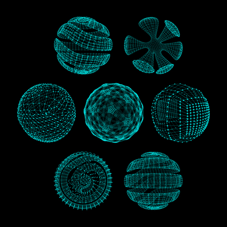 Sfera con linee collegate e punti. Connessioni Global Digital. Globo griglia. Wireframe illustrazione. Stile tecnologia 3D. Reti. Vettoriali
