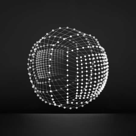 globe grid: Sphere with Connected Lines and Dots. Global Digital Connections. Globe Grid. Wireframe Illustration. 3D Technology Style. Networks.